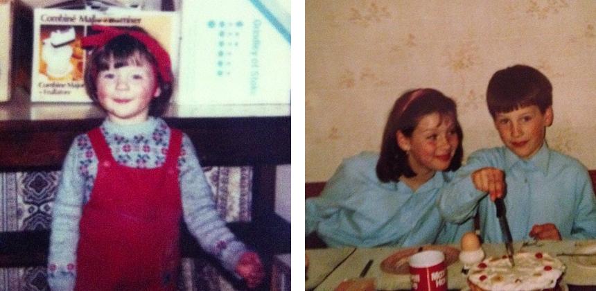 Foto 1: Pequena Caitriona Balfe. Foto 2: Caitriona ao lado de seu irmão mais novo Francis.