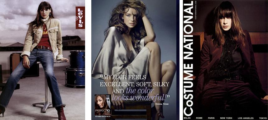 Caitirona Balfe em propagandas para as marcas Levi's (2002), Clairol (2008) e CNC Costume National (2012).